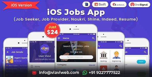 iOS Jobs App (Job Seeker, Job Provider, Naukri, Shine, Indeed, Resume)
