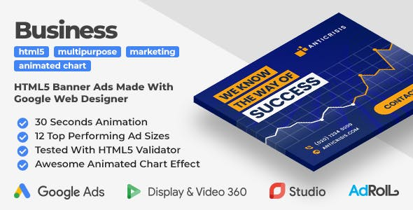 Anticrisis - Multipurpose Business Animated HTML5 Banner Ad Templates (GWD)