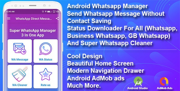 Whatsapp Manager Android App Source Code - CodeCanyon Item for Sale
