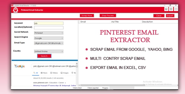 Pinterest Email Extractor and Scraper - CodeCanyon Item for Sale