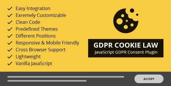 GDPR Cookie Law – Responsive JavaScript GDPR Consent Plugin
