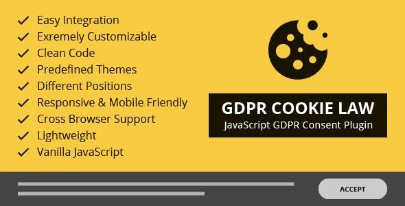 GDPR Cookie Law – Responsive JavaScript GDPR Consent Plugin