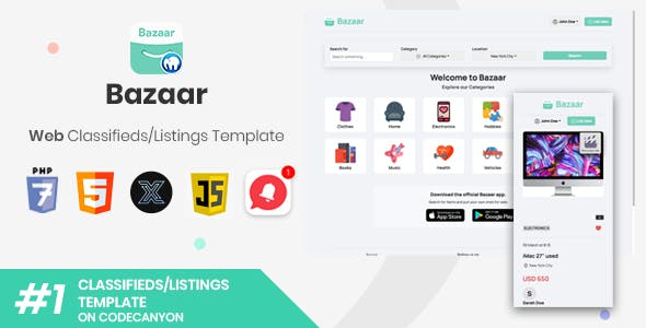Bazaar | Web PHP Social Listings/Classifieds Shopping Template [XServer]