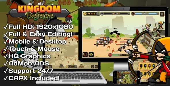 Kingdom Defense - HTML5 Game 30 Levels + Mobile Version! (Construct 3 | Construct 2 | Capx)