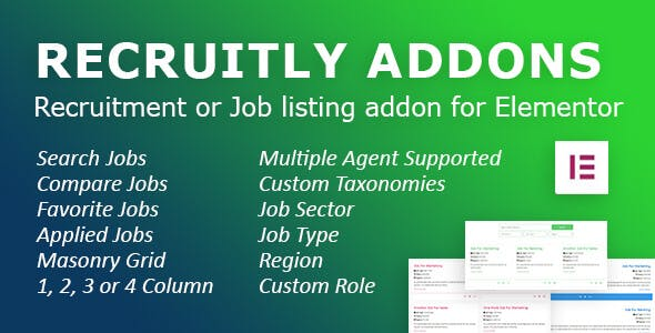 Recruitly Addons: Recruitment or Job listing plugin or addon for Elementor of WordPress.