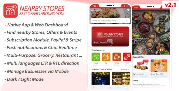 Nearby Stores iOS - Offers, Events, Multi-Purpose, Restaurant, Market - Subscription & Admin Panel