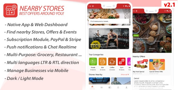 Nearby Stores Android - Offers, Events, Multi-Purpose, Restaurant, Market - Subscription & WEB Panel - CodeCanyon Item for Sale