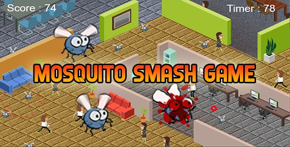 Mosquito Smash Game (CAPX and HTML5) At Office Room - CodeCanyon Item for Sale