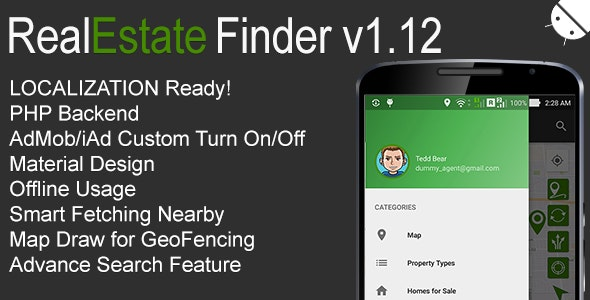 RealEstate Finder Full Android Application v1.12 - CodeCanyon Item for Sale