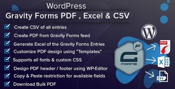 WordPress Gravity Forms PDF, Excel, CSV & Google Sheet