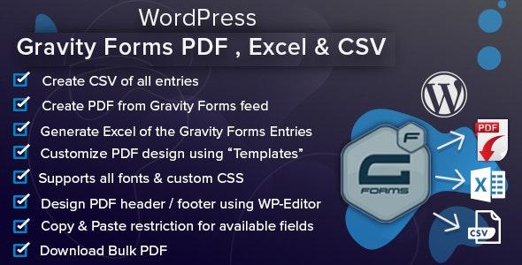 WordPress Gravity Forms PDF, Excel, CSV & Google Sheet - CodeCanyon Item for Sale