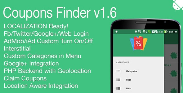 Coupons Finder Full Android Application v1.6 - CodeCanyon Item for Sale