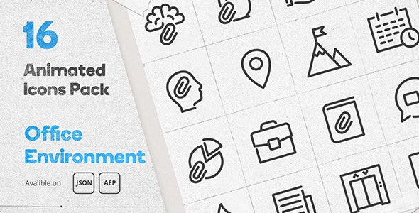 Office Environment Animated Icons Pack - Wordpress Lottie Json Animation SVG - CodeCanyon Item for Sale