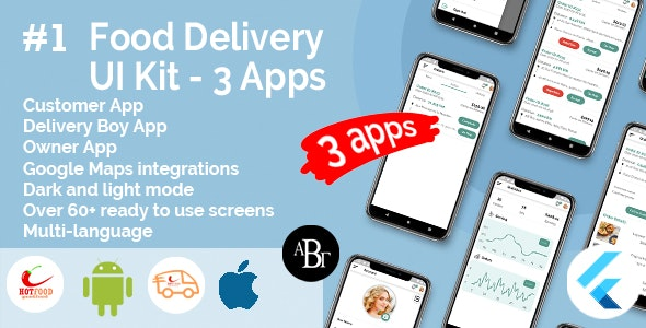 Food Delivery UI Kit in Flutter - 3 Apps - Customer App + Delivery App + Owner App - CodeCanyon Item for Sale