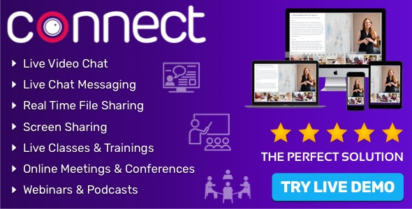 Connect - Live Video & Chat Messaging, Live Class, Meeting, Webinar, Conference, File Sharing