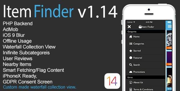 Item Finder MarketPlace Full iOS App v1.14