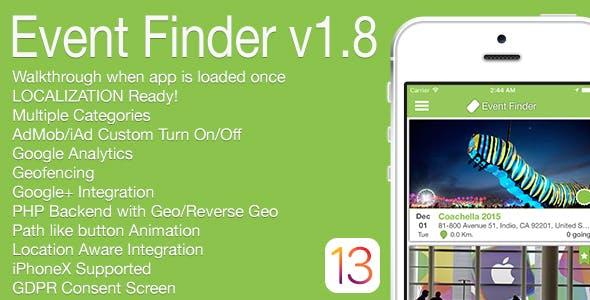 Event Finder Full iOS Application v1.8