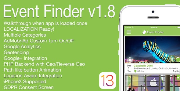 Event Finder Full iOS Application v1.8 - CodeCanyon Item for Sale