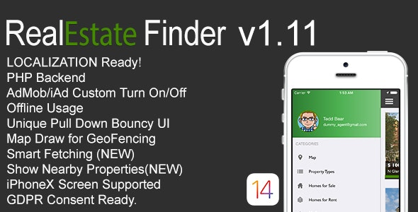 RealEstate Finder Full iOS Application v1.11 - CodeCanyon Item for Sale
