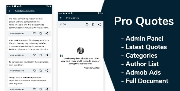 Pro Quotes - Quotes App with Admin Panel and Admob Ads