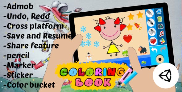 Coloring Book Kids Game | Unity Project With Admob for Android and iOS