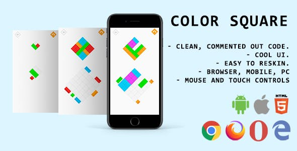 Color Square. Mobile, Html5 Game. .c3p (Construct 3)