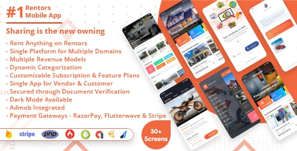 Rentors - Universal Android App For Renting and Hiring - CodeCanyon Item for Sale