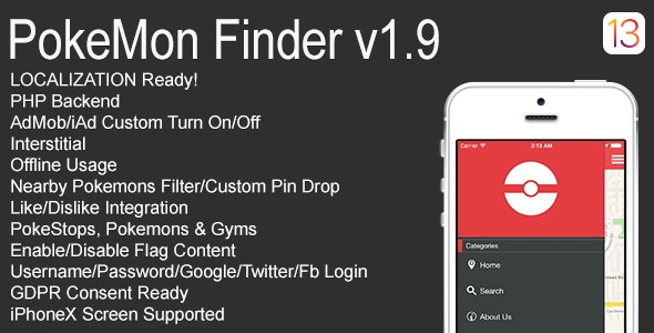 PokeMon Finder Full iOS Application v1.9 - CodeCanyon Item for Sale