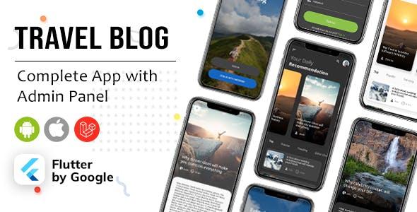 Flutter Blog App, News App - Travel, News, Branding App
