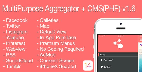 Multi-Purpose Aggregator + CMS(PHP) iOS Application v1.6