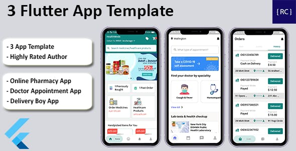 Doctor Appointment Booking App + Online Pharmacy App + Delivery Boy App Template in Flutter   3 Apps