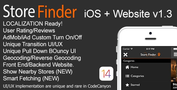 Store Finder iOS + Website v1.3 - CodeCanyon Item for Sale