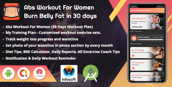 Android Abs Workout For Women - lose belly Fat in 30 days (women fitness app)(V_2) - CodeCanyon Item for Sale