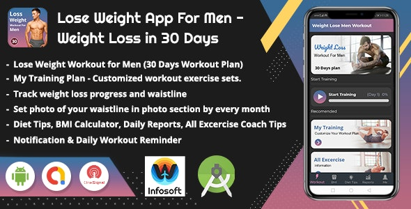 Android Lose Weight App for Men - Weight Loss in 30 Days (men workout)(V_2) - CodeCanyon Item for Sale