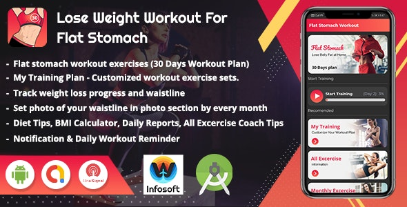 Android Lose Weight Flat Stomach Workout at Home - Women Workout App(V_2) - CodeCanyon Item for Sale