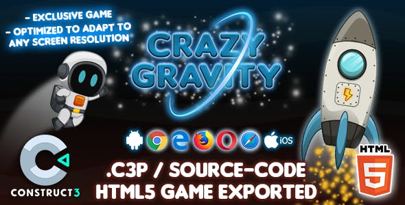 Crazy Gravity HTML5 Game - Construct 3 Source-code