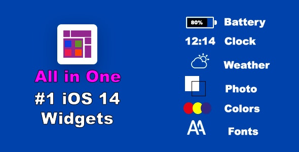 ios 14 All Widgets in Single App, In-App Purchase & Custom Fonts, Colors for Widget - CodeCanyon Item for Sale