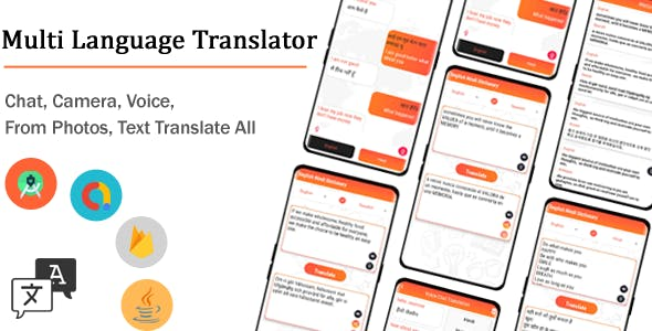 Multi language Translator, Chat, Camera, Voice, From Photos, Text Translate All