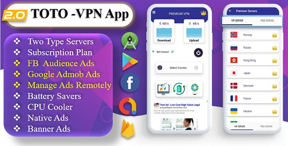 TOTO - VPN | VPN App | Facebook Ads | Admob Ads | Ads Manage Remotely | VPN  | VPN Subscription Plan - CodeCanyon Item for Sale