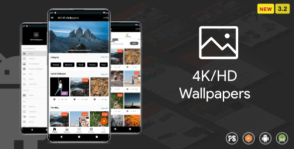 4K/HD Wallpaper Android App ( Auto Shuffle + Gif + Live + Admob + Firebase Noti + PHP Backend) 3.2 - CodeCanyon Item for Sale