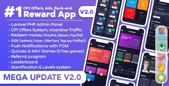 Premium Rewards App - CPI Offers System & Rewards App & HTML5 Mini Games + PHP Laravel Admin Panel