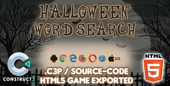Halloween Word Search HTML5 Game - Construct 3 Source-code - CodeCanyon Item for Sale