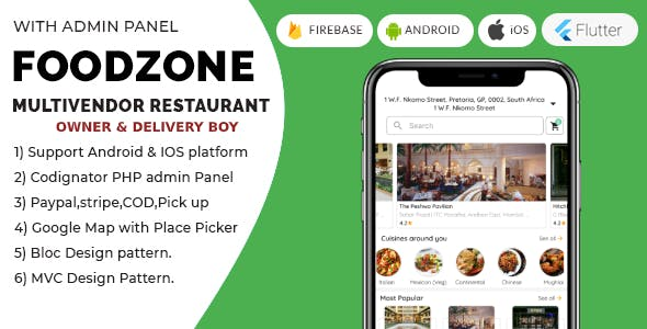 FoodZone Multivendor Mobile Application in Flutter with PHP Admin Panel + store owner + delivery boy