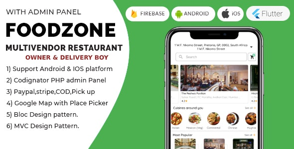 FoodZone Multivendor Mobile Application in Flutter with PHP Admin Panel + store owner + delivery boy - CodeCanyon Item for Sale