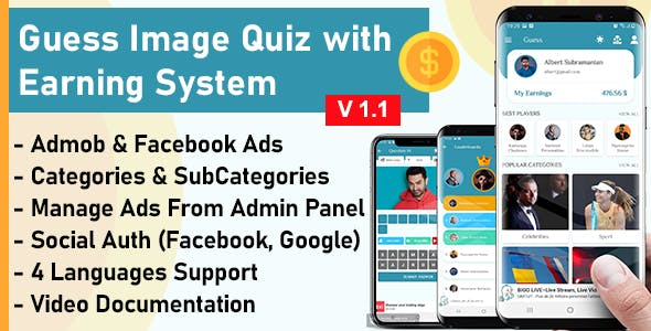 Guess Image Quiz with Earning System + Admin Panel