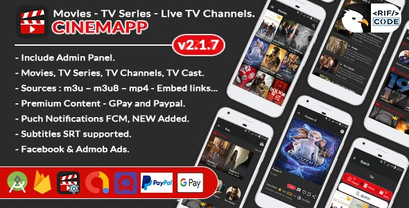 CinemApp - Android Live TV Channels & Movie Portal App, TV Series with Subscription System