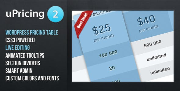 uPricing - Pricing Table for Wordpress        Nulled