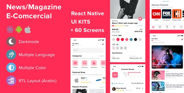Mazi - mobile React Native UI KIT for E-commerce | News & Magazine