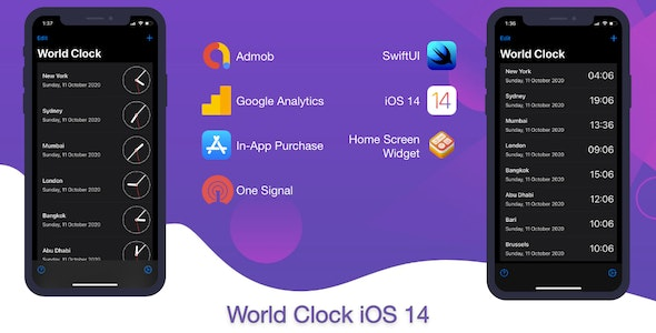 World Clock for iOS (supports iOS 14 Home Screen widget) - CodeCanyon Item for Sale