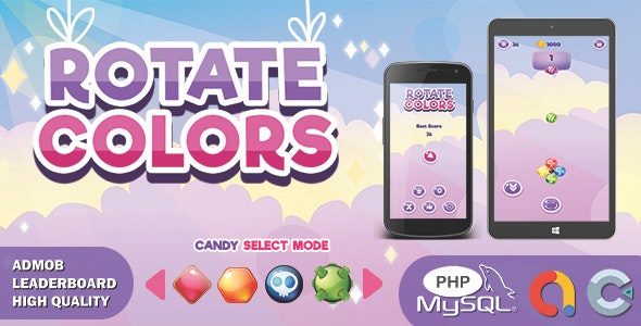 Candy Rotate Colors (Construct 3 | HTML5 Game | Leaderboard | Admob) - CodeCanyon Item for Sale